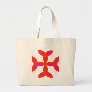 Triquetra Cross in Bright Red Hot Pink Jumbo Tote Bag