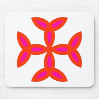 Triquetra Cross in Bright Red Hot Pink Mousepads