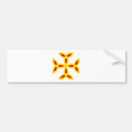 Triquetra Cross in Golden Yellow Orange Red Bumper Sticker