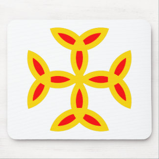 Triquetra Cross in Golden Yellow Orange Red Mouse Pad