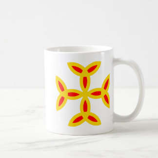 Triquetra Cross in Golden Yellow Orange Red Coffee Mugs