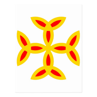 Triquetra Cross in Golden Yellow Orange Red Post Card