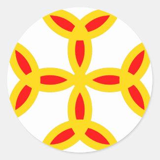 Triquetra Cross in Golden Yellow Orange Red Round Sticker