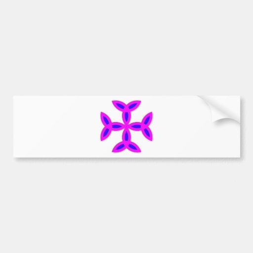 Triquetra Cross in Lilac Pink Bold Blue Bumper Sticker