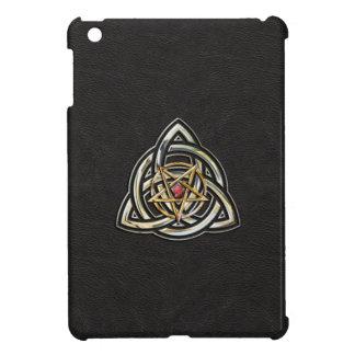 Triquetra Pentacle on Black iPad Mini Cover