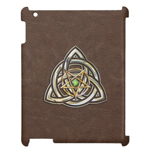 Triquetra Pentacle on Brown iPad Cover