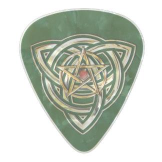 Triquetra Pentacle Triple Destiny Pearl Celluloid Guitar Pick