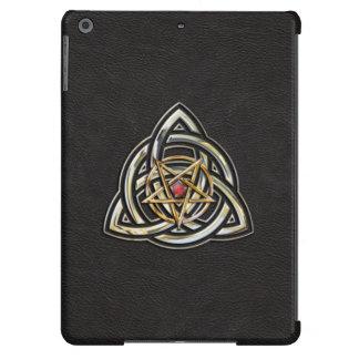 Triquetra Pentagram on Black iPad Air Covers