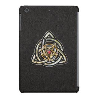 Triquetra Pentagram on Black iPad Mini Cover