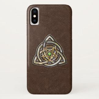 Triquetra Pentagram on Brown iPhone X Case