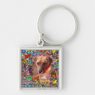 Trista the Rescue Dog in Butterflies Silver-Colored Square Key Ring