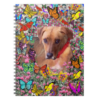 Trista the Rescue Dog in Butterflies Spiral Note Book