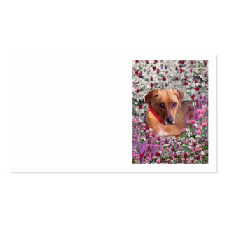 Trista the Rescue Dog in Flowers Business Card Template