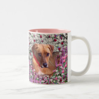 Trista the Rescue Dog in Flowers Two-Tone Coffee Mug