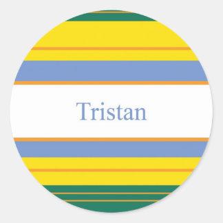 Tristian Classic Stripes Round Sticker
