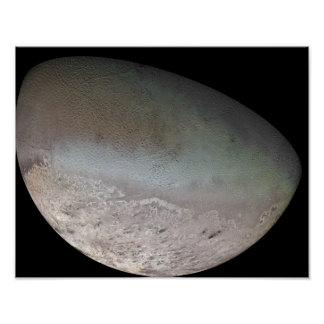 Triton, the largest moon of planet Neptune Poster
