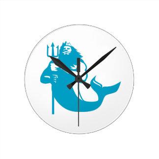 Triton Wielding Trident Retro Round Clock