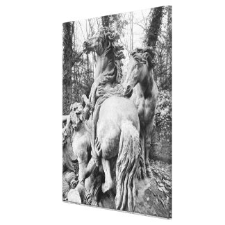 Tritons grooming two horses of the sun canvas prints