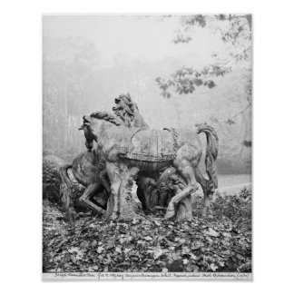 Tritons grooming two horses of the sun poster