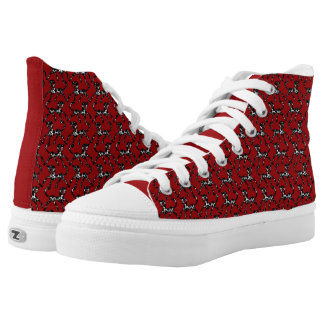 Tritty Painted Foxtrotter Red and Black High Tops