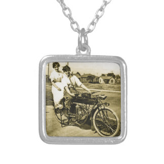 Triumph of Love Dating on a Motorcycle Vintage Silver Plated Necklace
