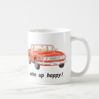 "Triumph Stag, classic red car ""wake up happy"" mug"