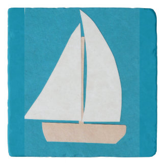 Trivet with White Sailboat