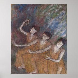 Trois Danseuses (pastel on paper) Poster