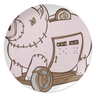 Trojan Horse Piggy Bank Cartoon Party Plate