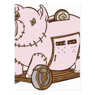 Trojan Horse Piggy Bank Cartoon Postcard