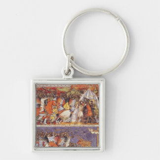 Trojans Invading Greek Camp Silver-Colored Square Key Ring