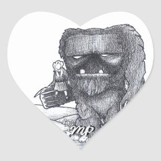 Troll and Companion drawing Heart Sticker