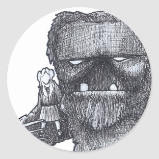 Troll and Companion drawing Round Sticker