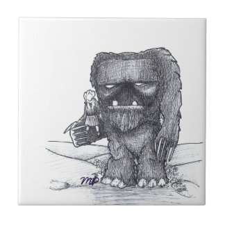 Troll and Companion drawing Small Square Tile