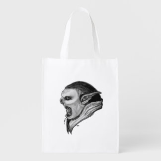 Troll Black and White Design Reusable Grocery Bag