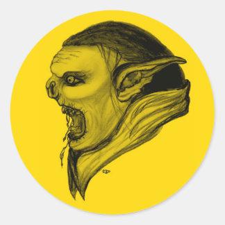 Troll black yellow Design Round Sticker