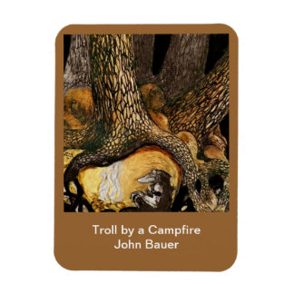 Troll by a Campfire Rectangular Photo Magnet