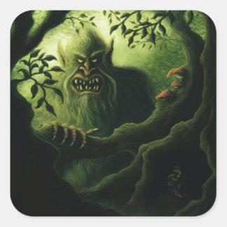 troll country fantasy square sticker