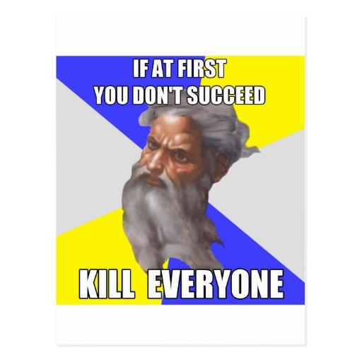 Troll God Kills Post Card