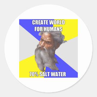 Troll God Saltwater Round Sticker