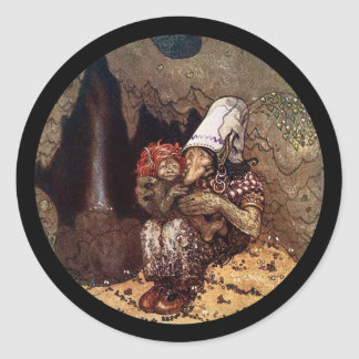 Troll Mother and Child Round Sticker