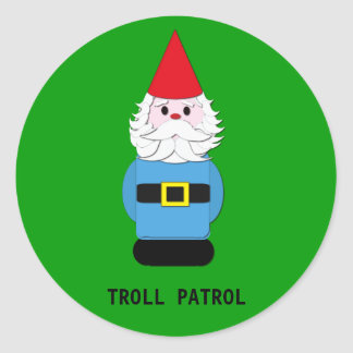 Troll Patrol Scandinavian Gnome Round Sticker