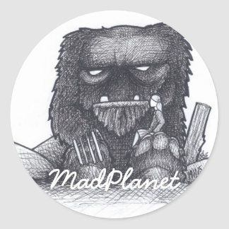 Troll Stump Drawing Round Sticker