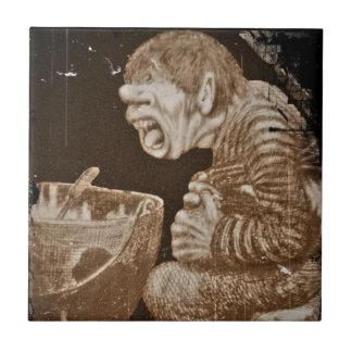 Troll with Giant Cauldron Ceramic Tile