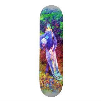 Troll with head under arm skateboard deck