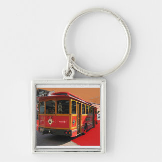 Trolley Bus enhanced Digital transportation Photo Silver-Colored Square Key Ring