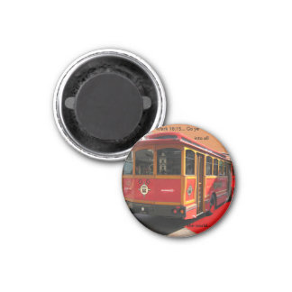 Trolley Bus Scripture Mark 16:15 Christian 3 Cm Round Magnet