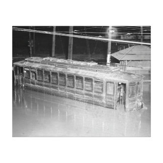 Trolley Car in Flood 1923 Canvas Prints