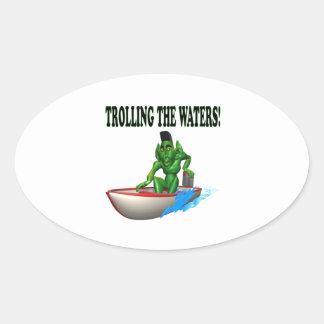 Trolling The Waters Oval Sticker