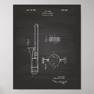 Trombone Attachment 1927 Patent Art Chalkboard Poster